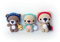 PDF Crochet Pattern Amigurumi Pattern Cutie Bear by AmiAmore Crochet Toys, Crochet Panda, Cute Crochet, Crochet Animals, Knit Crochet, Amigurumi Patterns, Crochet Bear Patterns, Amigurumi Doll, Slip Stitch