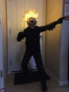 Ghost Rider Costume Diy - Ghost Rider Halloween Costume Contest At Costume Works Com With Ghost Rider Sakura Con 2012 Johnny Blaze Would Like To Diy Led Ghostrider Costume Anyo. Ghost Costume Kids, Best Kids Costumes, Toddler Boy Halloween Costumes, Character Halloween Costumes, Book Character Costumes, Ghost Costumes, Halloween Stuff, Halloween Makeup, Clever Costumes