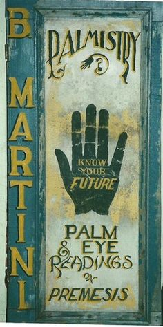 Primitive Wood Sign Palm Reading Palmistry B Martini wooden sign Charles Jerred