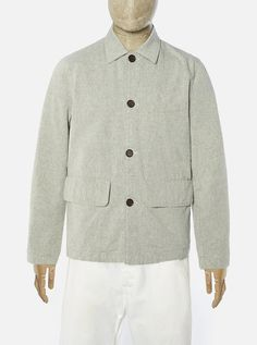 Universal Works Warmus Jacket in Ecru Sensor Recycled Cotton Universal Works, Wool Wash, Iron Decor, Designer Clothes For Men, Welt Pocket, Work Wear, Chef Jackets, Formal, Sleeves