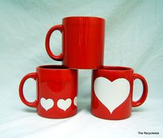 3 Waechtersbach W Germany Red White Heart MUGS by TheRecycleista, $25.00