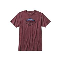 Men's Patagonia Fitz Roy Crest Cotton/Poly T-Shirt - Oxblood Red... ($29) ❤ liked on Polyvore featuring men's fashion, men's clothing, men's shirts, men's t-shirts, red, mens graphic t shirts, mens long sleeve t shirts, mens long sleeve cotton shirts, patagonia mens shirts and mens long sleeve shirts