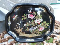 Vintage Black Oriental/Asian Flowers/Floral Gold/Silver/Red Elite Metal Tray Made in England Butterflies 1960s