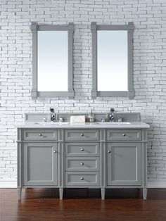 "Brittany 60"" Urban Gray Double Vanity with Snow White Quartz Top #bathroomremodel"