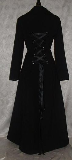3bb5d9bb0f7c7 Coat Black Long Fit n Flare Full Length Gothic Steampunk Corset Coat size  20-22