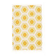 Teppich Wabenmotiv Seitliche Fransen Wolle Ca L160xB90 Cm In Gelb Bei