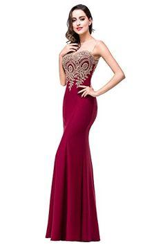 Amazon.com  Babyonline® Women s Lace Applique Long Formal Mermaid Evening  Prom Dresses  Clothing 78473d207d80