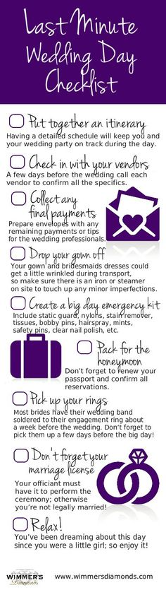 Wedding Day Checklist! Make sure we have all this packed and ready on Weds night! :) Thursday should be all about relaxing and having fun and FRIDAY should be all about living it up (the clean way) and enjoying the BEST DAY EVER!!