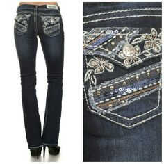 96% Cotton 4% Spandex Boot cut jeans, machine washable. Zipper and button closure, belt loops. Rhinestones and studs on the back pockets. Medium wash with whispering and fading at tights and seat.