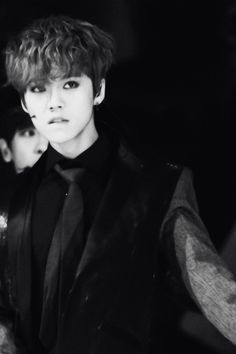 Image result for luhan in black and white outfit