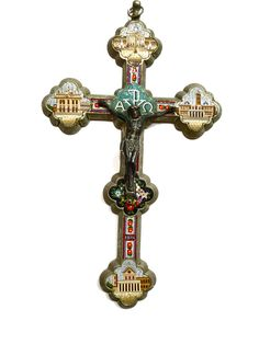 ANTIQUE MICRO MOSAIC CROSS WITH CRUCIFIX,VERY BEAUTIFUL LARGE SIZE.