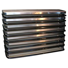 Chrome and Enameled Iron Radiator Cover/ Console by Mallet-Stevens, French 1930 Iron Console Table, Modern Console Tables, Table Furniture, Cool Furniture, Furniture Design, Modernisme, Streamline Moderne, Radiator Cover, French Architecture
