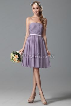 Flattering Strapless Short Lavender Bridesmaid Dress (07150206) #edressit #dress #bridesmaid_dress #fashion