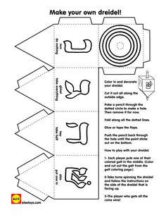 Print and Color Dreidel Game : Printables for Kids