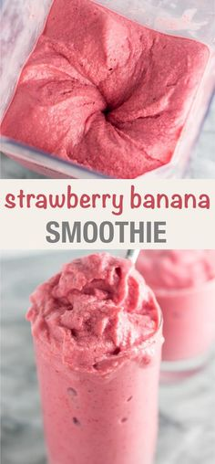 3 ingredient Strawberry banana smoothie - so thick it tastes like ice cream! 3 ingredient Strawberry banana smoothie - so thick it tastes like ice cream! Best Strawberry Banana Smoothie Recipe, Frozen Fruit Smoothie, Ice Cream Smoothie, Fruit Smoothie Recipes, Good Smoothies, Strawberry Breakfast, Fruit Drinks, Diet Drinks, Strawberry Smoothies