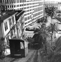Angels Flight wasn't the only railway whisking passengers up Bunker Hill. Here is the Court Street rail (along what is today Grand Park) photographed in 1940 by Ansel Adams. Photos: The Life, Death, And Rebirth Of Bunker Hill: LAist Ansel Adams Photography, Street Photography, Nature Photography, Urban Photography, Minimalist Photography, Color Photography, Edward Weston, Richard Avedon, Sierra Nevada