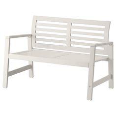 ÄPPLARÖ Bench with backrest, outdoor - white - IKEA