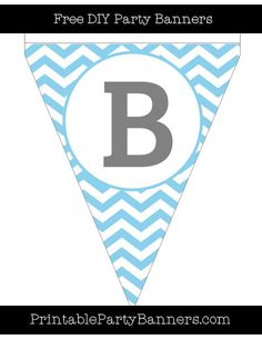 Baby Blue and White Pennant Chevron Capital Letter B