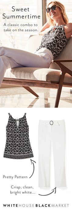 Summer is finally in full swing and with that comes an endless agenda, and the last thing on your list should be any wardrobe worries. That's why our collection has the answer for easy, effortless and put together styles that can take you through the workweek and into your weekend. Give a crisp, clean white crop paired with the classic color duo on top... it's perfect for a casual Friday in the office or Sunday brunch with the girls—own your look this summer.  White House Black Market