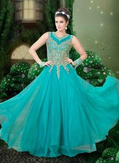 Designer Indian party gown dress in Tiffany Blue