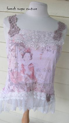 """French Sugar Couture-  Parisian """"Pink Geisha""""  Up-cycled Tank Top- Altered Couture - Size Medium"""