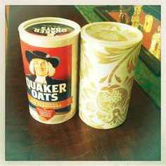 Oatmeal canister + leftover wallpaper= cute container! #DIY #upcycle #repurpose
