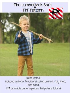 The Lumberjack Shirt- flannel button up shirt or jacket for baby and boys sizes 3m-14 PDF Sewing Pattern by Patterns for PIrates by PatternsforPirates on Etsy https://www.etsy.com/listing/203009456/the-lumberjack-shirt-flannel-button-up