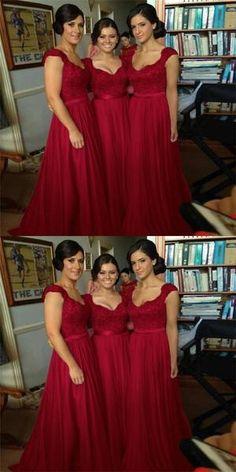 Scoop Sleeveless Long Cheap Dark Red Chiffon Bridesmaid Dresses with Appliques, dresses red bridesmaid Scoop Sleeveless Long Cheap Dark Red Chiffon Bridesmaid Dresses with Appliques, Christmas Bridesmaid Dresses, Dark Red Bridesmaid Dresses, Winter Bridesmaids, Dark Red Dresses, Classic Wedding Gowns, Western Wedding Dresses, Red Wedding Dresses, Perfect Wedding Dress, Dream Wedding