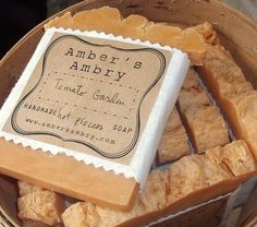 Rustic packaging idea for homemade soap. Avery 22846 printable Kraft Brown square labels would work great for this.