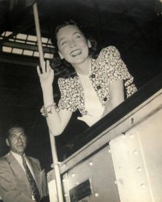 Maureen O'Sullivan on board the RMS Queen Mary in 1937.  Bizarre Los Angeles.