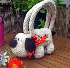 Crocheted puppy purse; great for little ones (add crayons & colorbook pages inside)