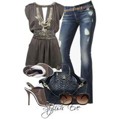 Brown Jean Outfit