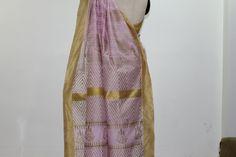 Pink and Gold Hand Block Printed Chanderi Saree Border