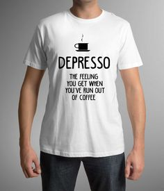 Great t-shirt with printing!Depresso! Mens clothing! Great Gift! Coffee Lovers, Gift for husband