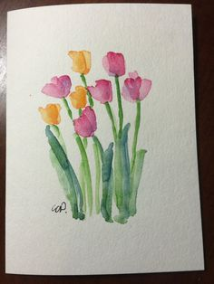Tulips Watercolor Card / Hand Painted Watercolor Card