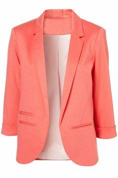 ROMWE | Rolled Cuffs Orange Blazer, The Latest Street Fashion #ROMWE