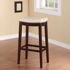 Linon Entice Backless Bar Stool, Cream Linen & Nail head Trim (Allure Fabric Top Bar Stool), Beige (Wood)