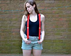 Vintage Cherry Red Suspenders with brown leather by thethirdcoast