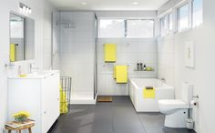 Create a sleek, modern bathroom with the distinct, geometric style of the Mondella Rococo collection. Available at Bunnings Warehouse. Bathroom Plumbing, Bathroom Renos, Bathrooms, Big Baths, Corner Wall, Bathroom Collections, Rococo