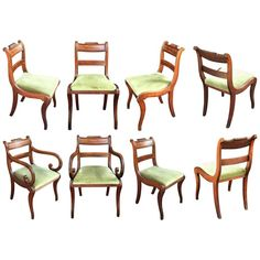 Set of Scottish Regency Dining Chairs of Mahogany, Two Arms and Six Side Chairs | From a unique collection of antique and modern dining-room-chairs at https://luigi.1stdibs.com/furniture/seating/dining-room-chairs/