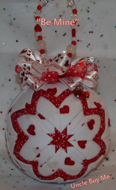 Quilted Ornaments Valentine's Day Quilt Ball Red White Hearts Handmade Beaded Hanger Heart Charms