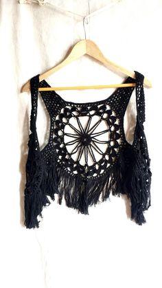 crochet fringed vest, boho hippie vest, black lace vest, vintage crochet fringed top, bohemian style top