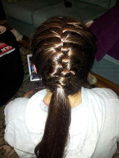 Braid ponytail long hair brown hair softball basketball sports