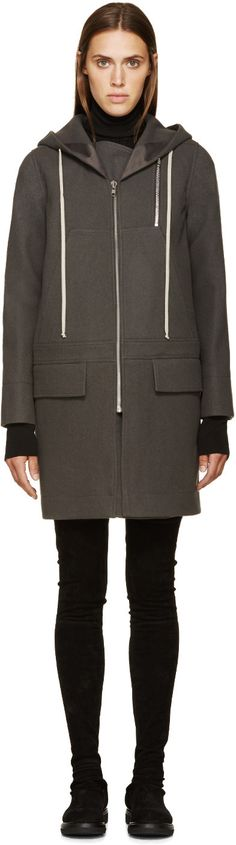 Rick Owens - Grey Wool New Combo Coat