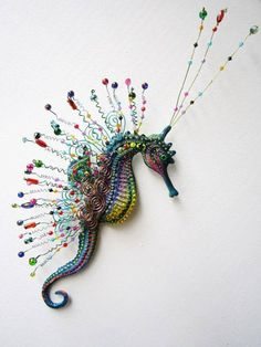 this lovely creature is not my work, but it shows you out of the box thinking. Seahorse art wall sculpture by artistJP on Etsy Seahorse Art, Seahorses, Seahorse Drawing, Beaded Animals, Wire Crafts, Fish Art, Beads And Wire, Art Plastique, Wall Sculptures