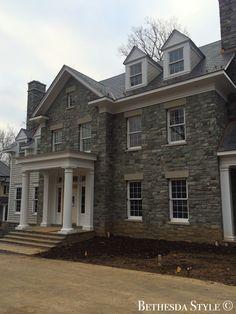 #BethesdaStyle ~ Home Exterior ~ The Banks Development Company ~ Home Builder ~ www.banksdevco.com #BanksDevelopment ~ Grey Stonework