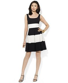 Lauren Ralph Lauren Sleeveless Striped A-Line Dress - Dresses - Women - Macy's
