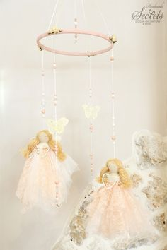 Fairies Baby Mobile, Handmade Fairies, Handmade Baby Mobile, Floating Fairies, Decorative Fairies, Baby Room, Girl's Room Decoration, Mob104