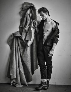 Ukrainian ballet dancer Sergei Polunin photographed by Mario Sorrenti and styled by Anastasia Barbieri, for the latest issue of Vogue Hommes Paris.
