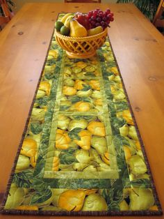 Handmade Quilted Table Runner Pears
